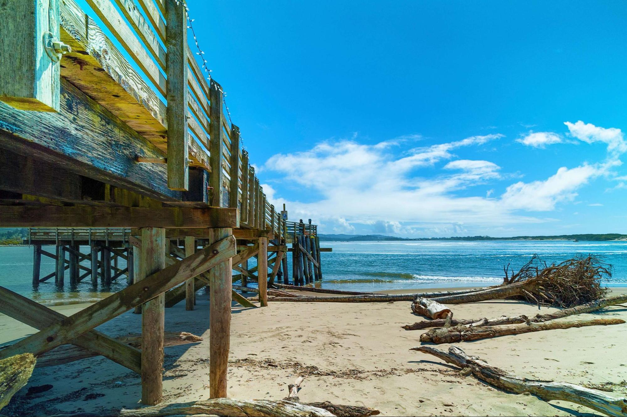 Photo of a Dock on the Beach in Lincoln City, Oregon.